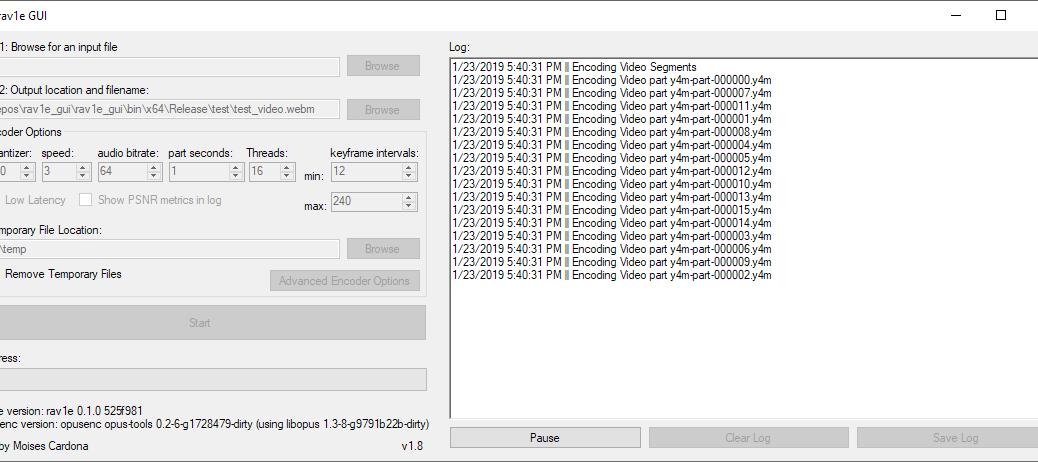 rav1e GUI v1.8 encoding