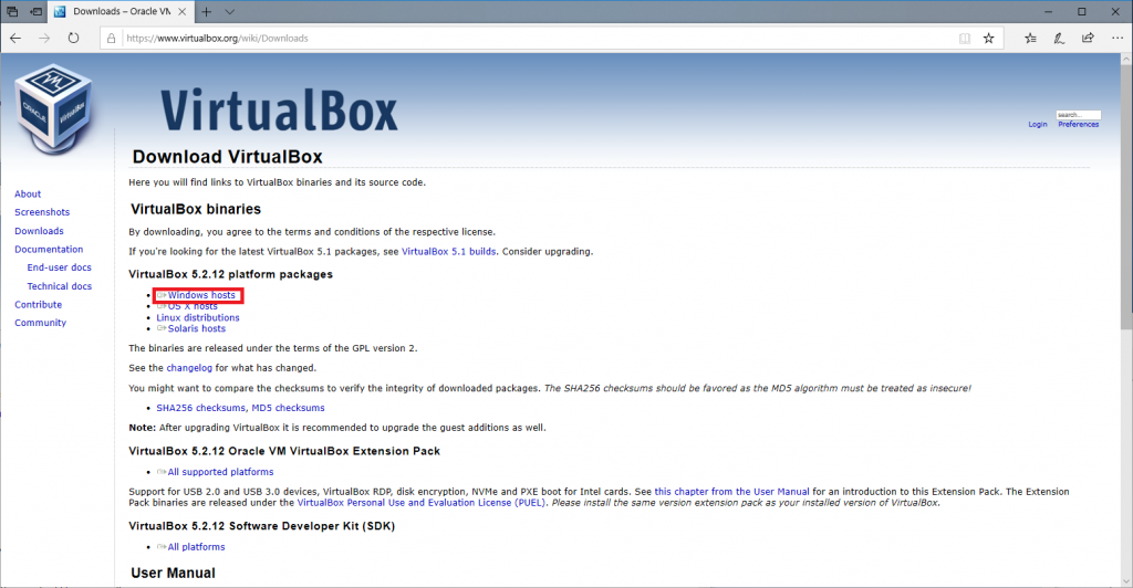 Downloading Virtualbox 2