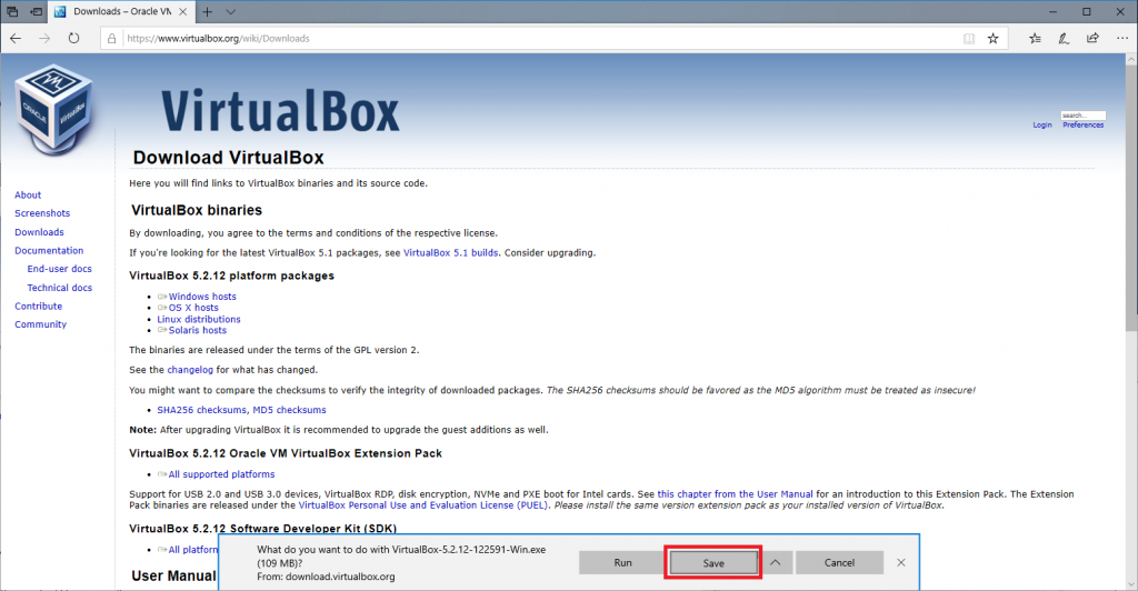 Downloading Virtualbox 3