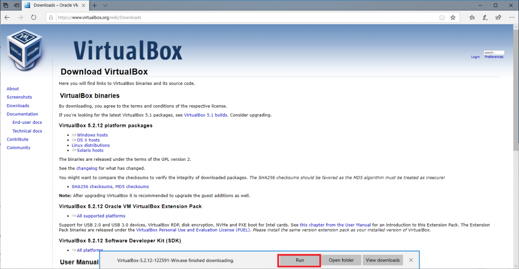 Downloading Virtualbox 4