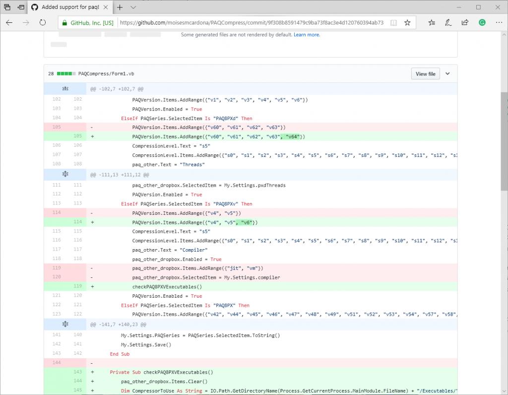 Código de PAQCompress v0.3.7