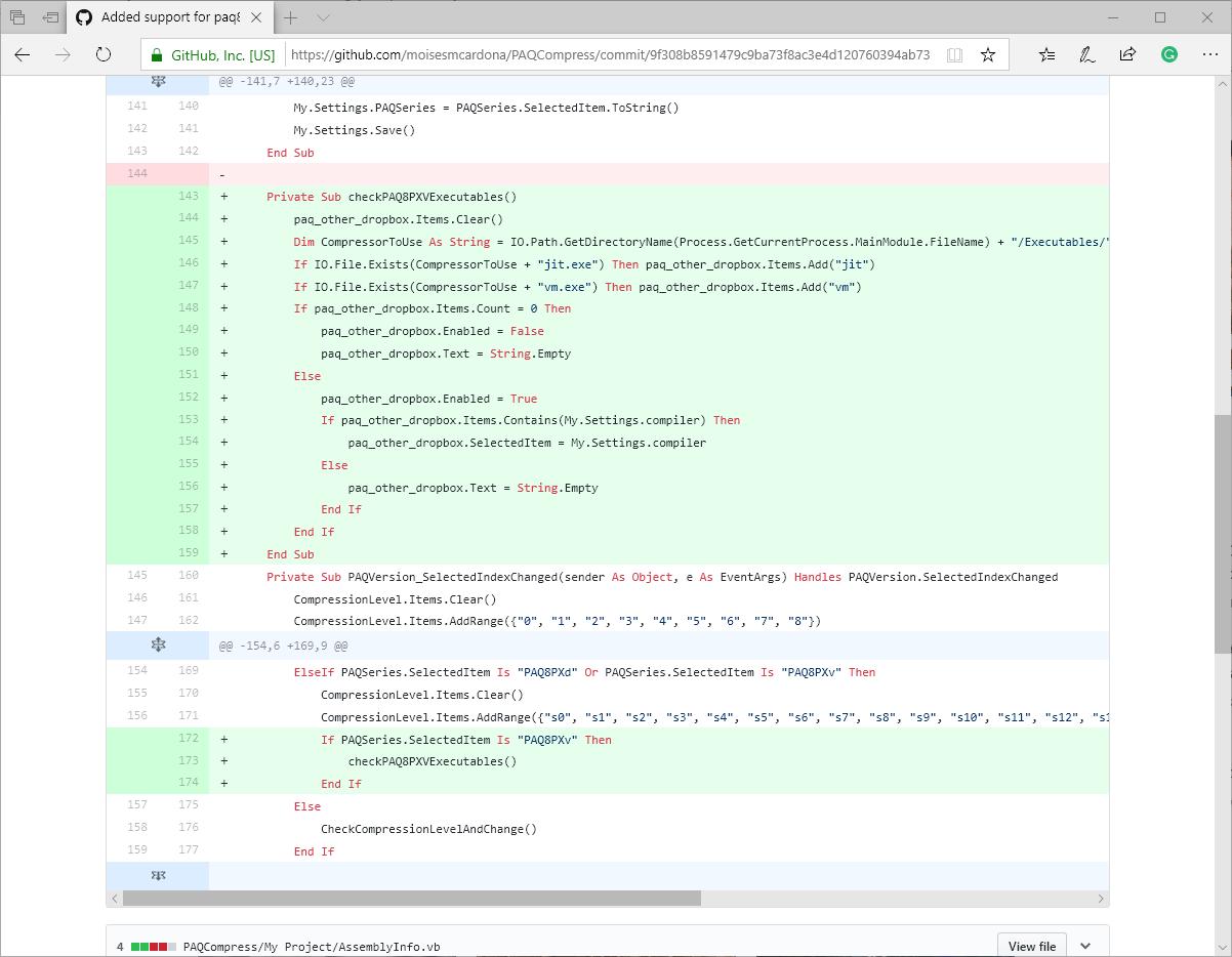 Código de la nueva función de PAQCompress v0.3.7