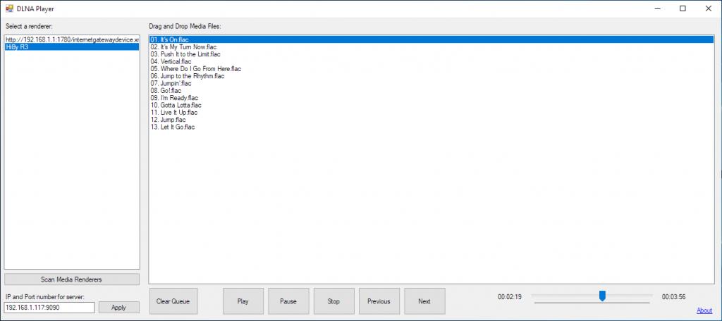 DLNA Player Screenshot