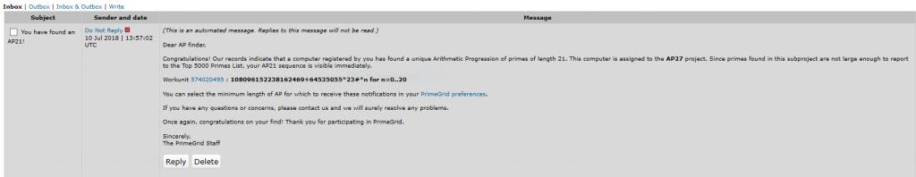 Primegrid prime number notice