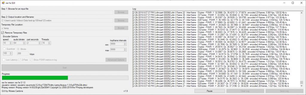 rav1e GUI v1.9 test
