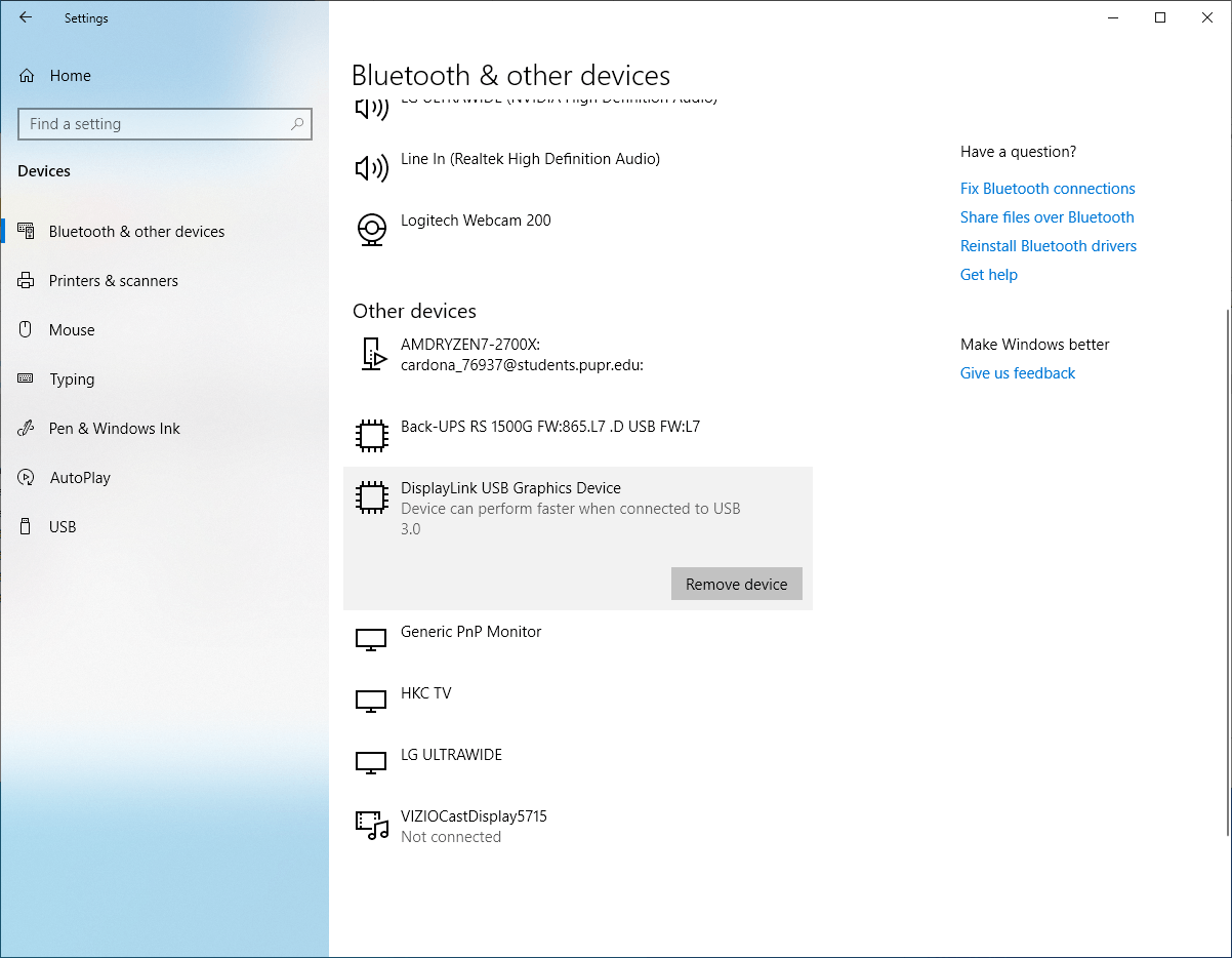 Mobile Pixels DUEX shows in the Windows Settings -> Devices that it can perform faster if connected to USB 3.0