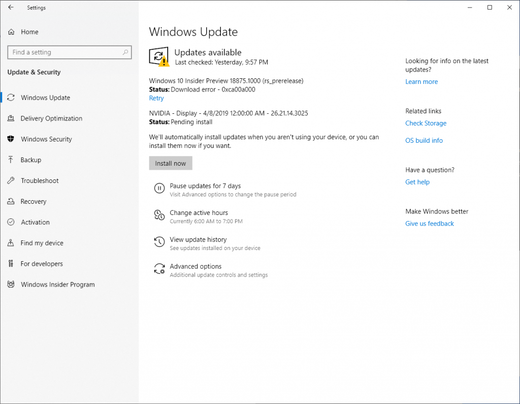 Installing Windows 10 Insider Preview 18875 1