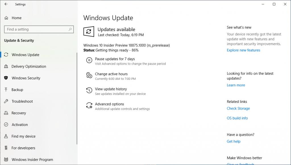 Installing Windows 10 Insider Preview 18875 13