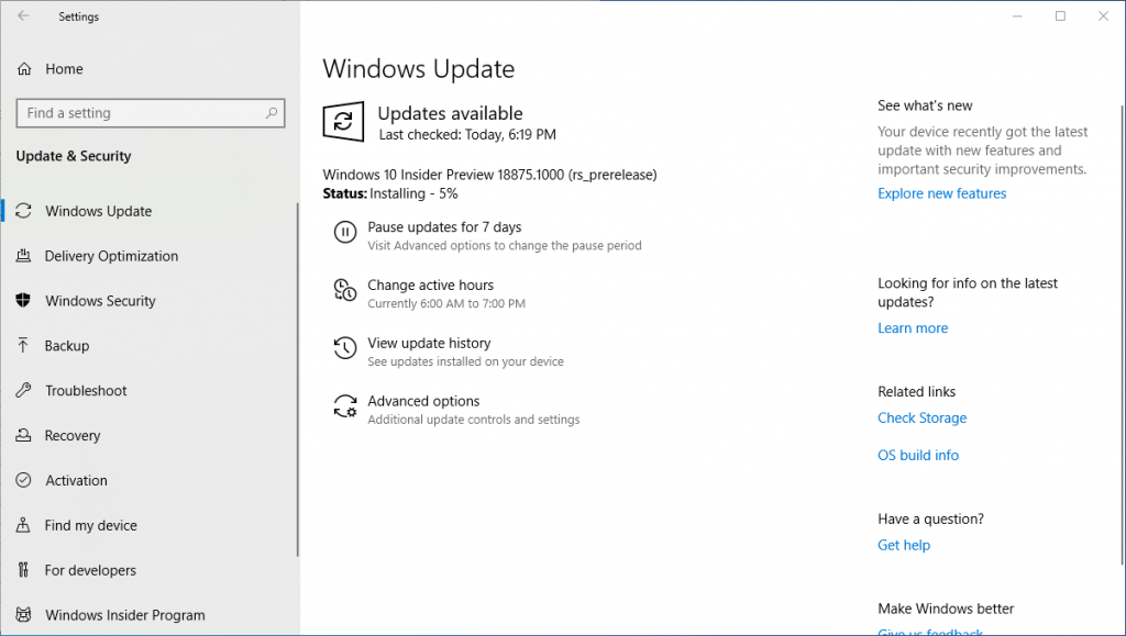Instalando Windows 10 Insider Preview 18875 14