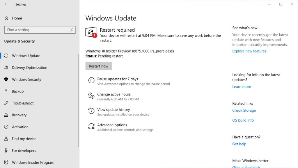 Installing Windows 10 Insider Preview 18875 15