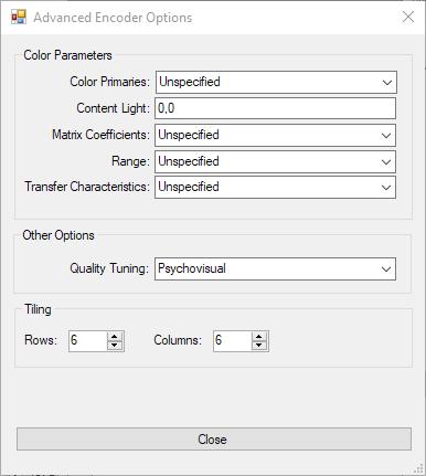 Opciones avanzadas de rav1e GUI v1.11
