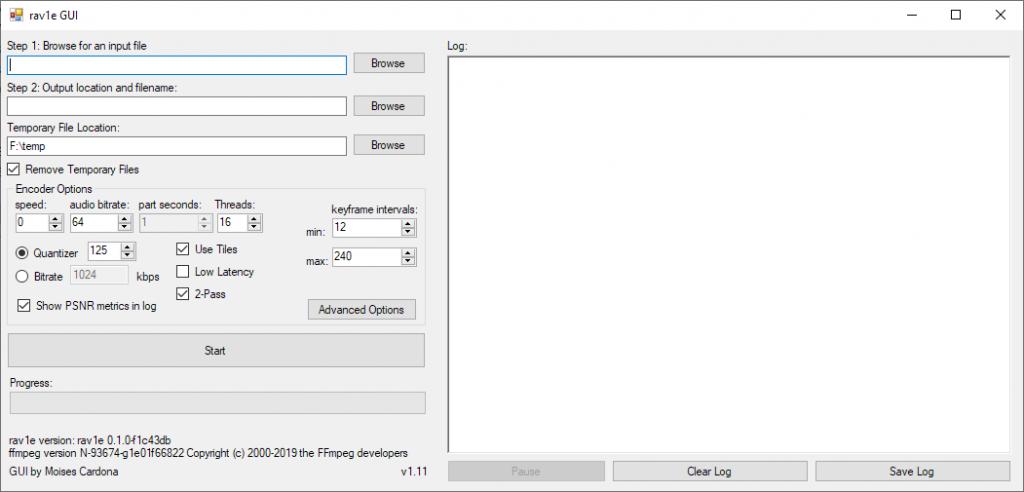 Ventana principal de rav1e GUI v1.11