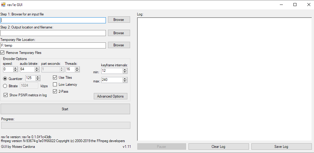 rav1e GUI v1.11 Main Window