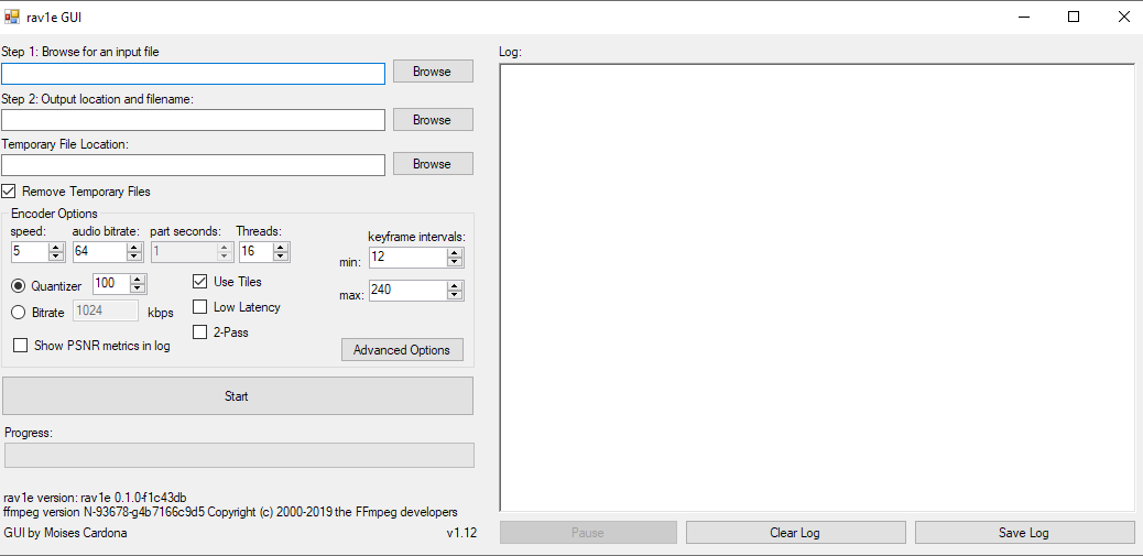 rav1e GUI v1.12 Main Window