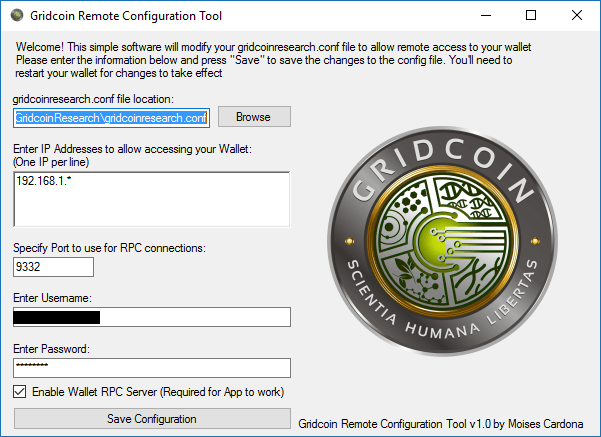 Gridcoin Remote Configuration Tool v1.0