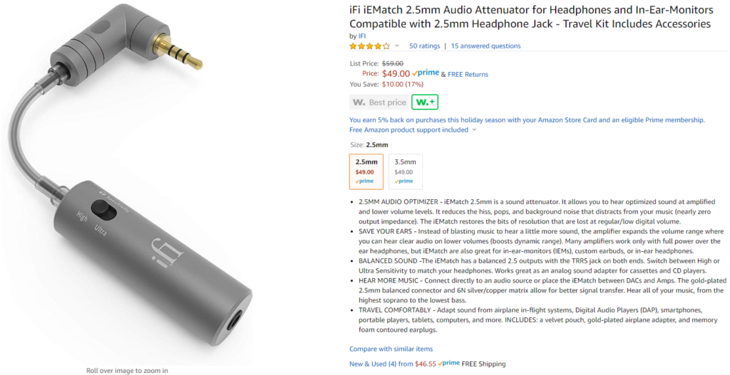 IFI IEMatch 2.5mm on Amazon