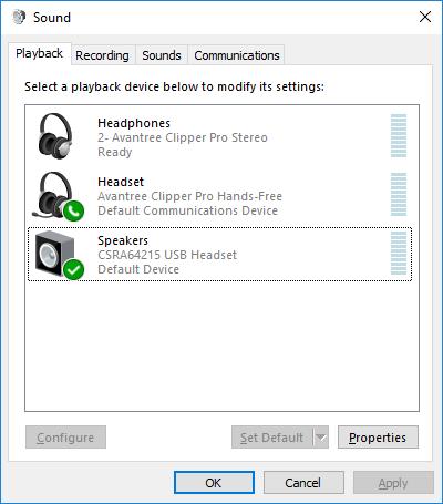 Avantree Clipper Pro in USB-DAC mode