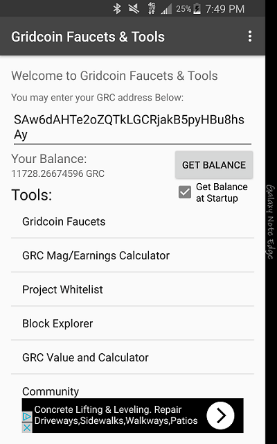 Gridcoin Faucets & Tools v1.2.2 Main Screen