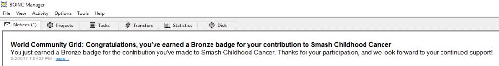 Mensaje de la medalla bronce Smash Childhood Cancer en BOINC