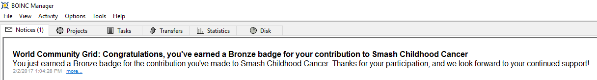 Smash Childhood Cancer Bronze Medal BOINC message