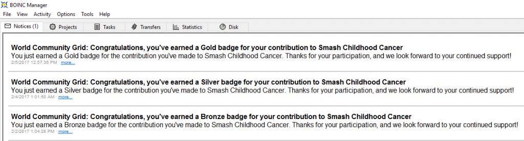 Mensaje de la medalla de Oro de Smash Childhood Cancer en BOINC