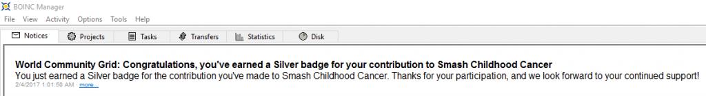 Mensaje de la medalla Plata Smash Childhood Cancer en BOINC - 1
