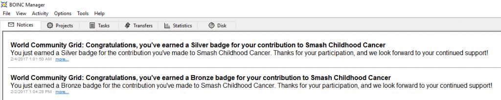 Smash Childhood Cancer Silver Medal BOINC message 2