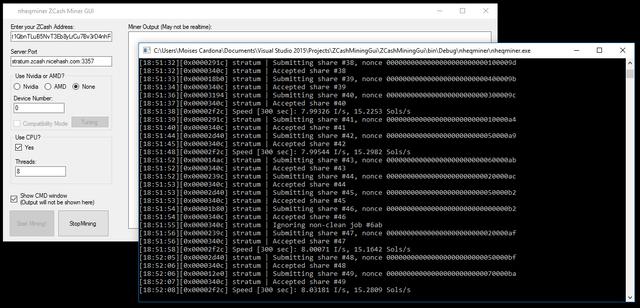 ZCash Mining GUI v0.3 Running
