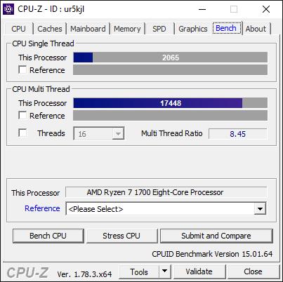 AMD Ryzen 7 1700 3.6Ghz CPU-Z Benchmark