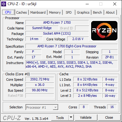 AMD Ryzen 7 1700 3.6Ghz CPU-Z CPU Information 1
