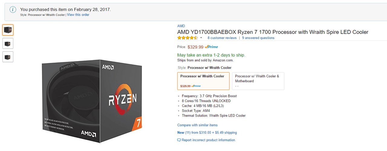AMD Ryzen 7 1700 CPU Amazon Item Page
