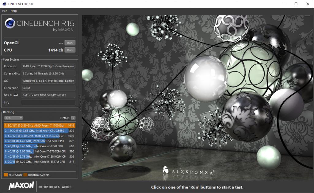 AMD Ryzen 7 1700 Cinebench R15 Benchmark