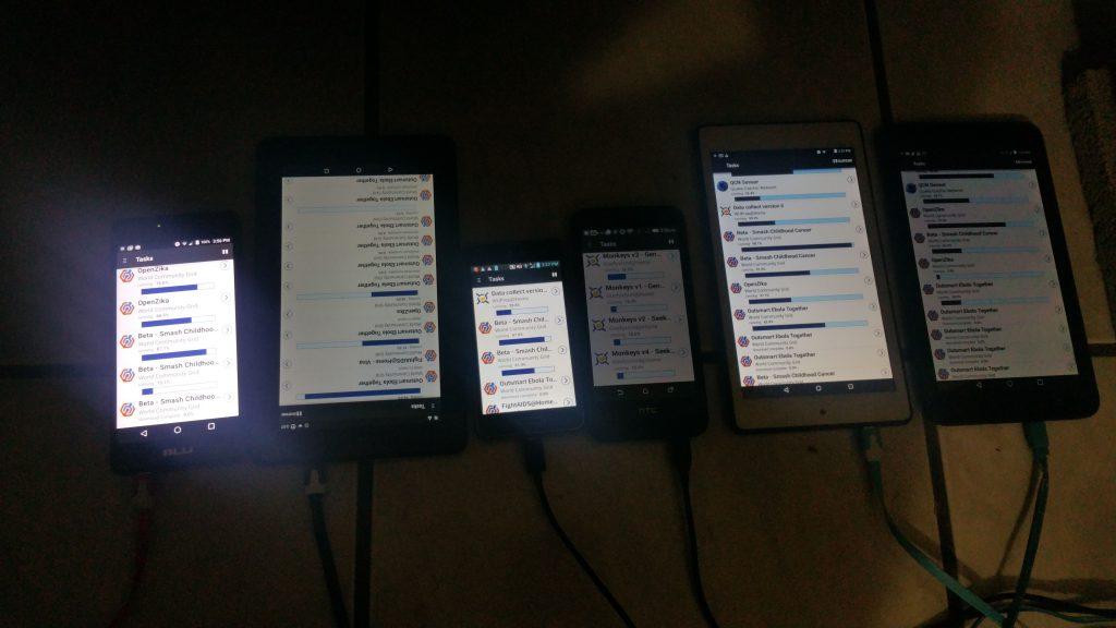 Equipos Android realizando tareas BOINC
