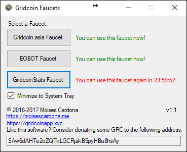 Gridcoin Faucets for Windows v1.1