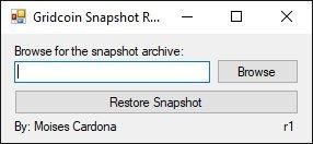 Gridcoin Snapshot Restore r1