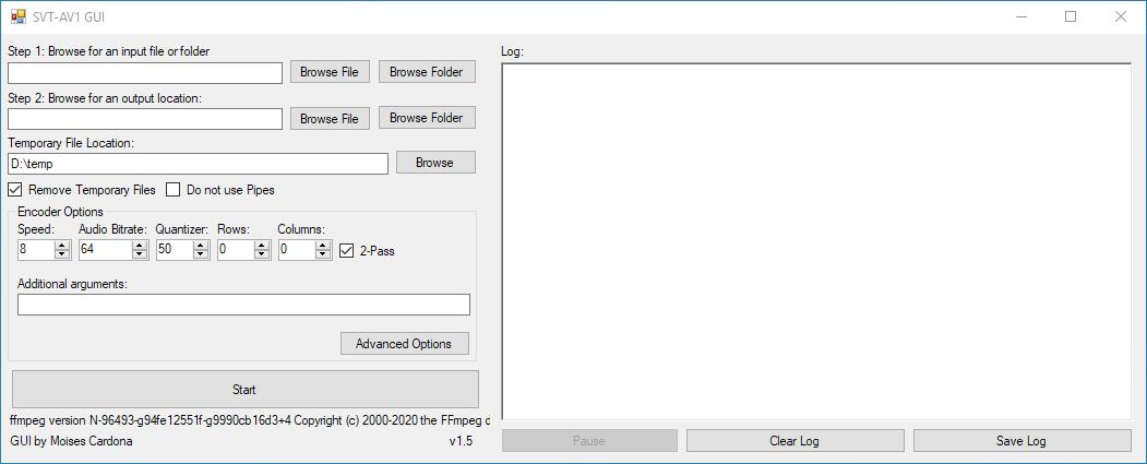 SVT-AV1 GUI v1.5 Main Window