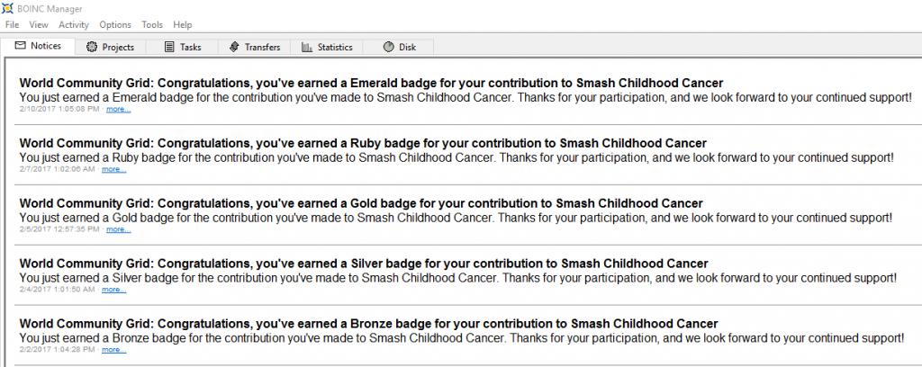 Mensaje de la medalla esmeralda de Smash Childhood Cancer en BOINC