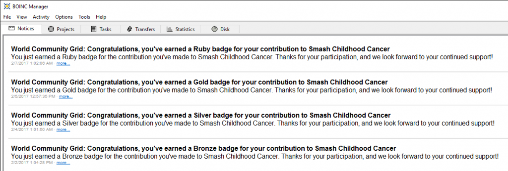 Mensaje de la medalla Rubí de Smash Childhood Cancer en BOINC