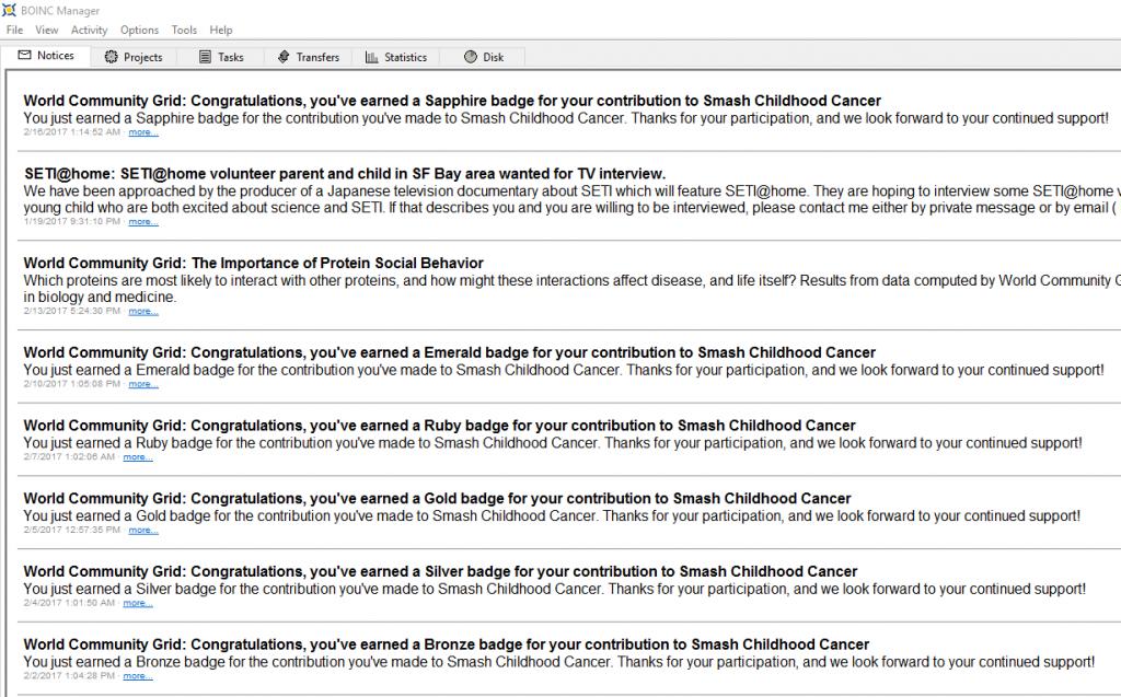 Mensaje de la medalla zafiro de Smash Childhood Cancer en BOINC