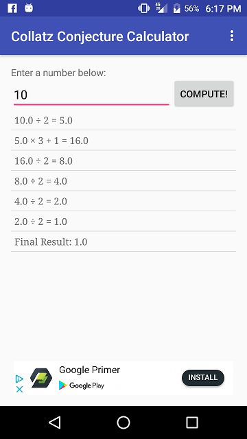 Collatz Conjecture Android App - 4