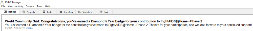 FightAIDS@Home Phase 2 Diamond 5 Year Badge BOINC message