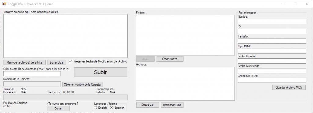 Google Drive Uploader & Explorer Tool v1.6.1 - Spanish