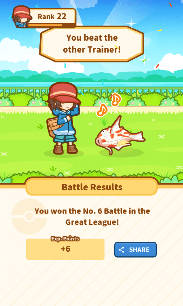 I won the No. 6 Battle in the Great League!