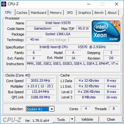 Intel Xeon X5570 CPU-Z