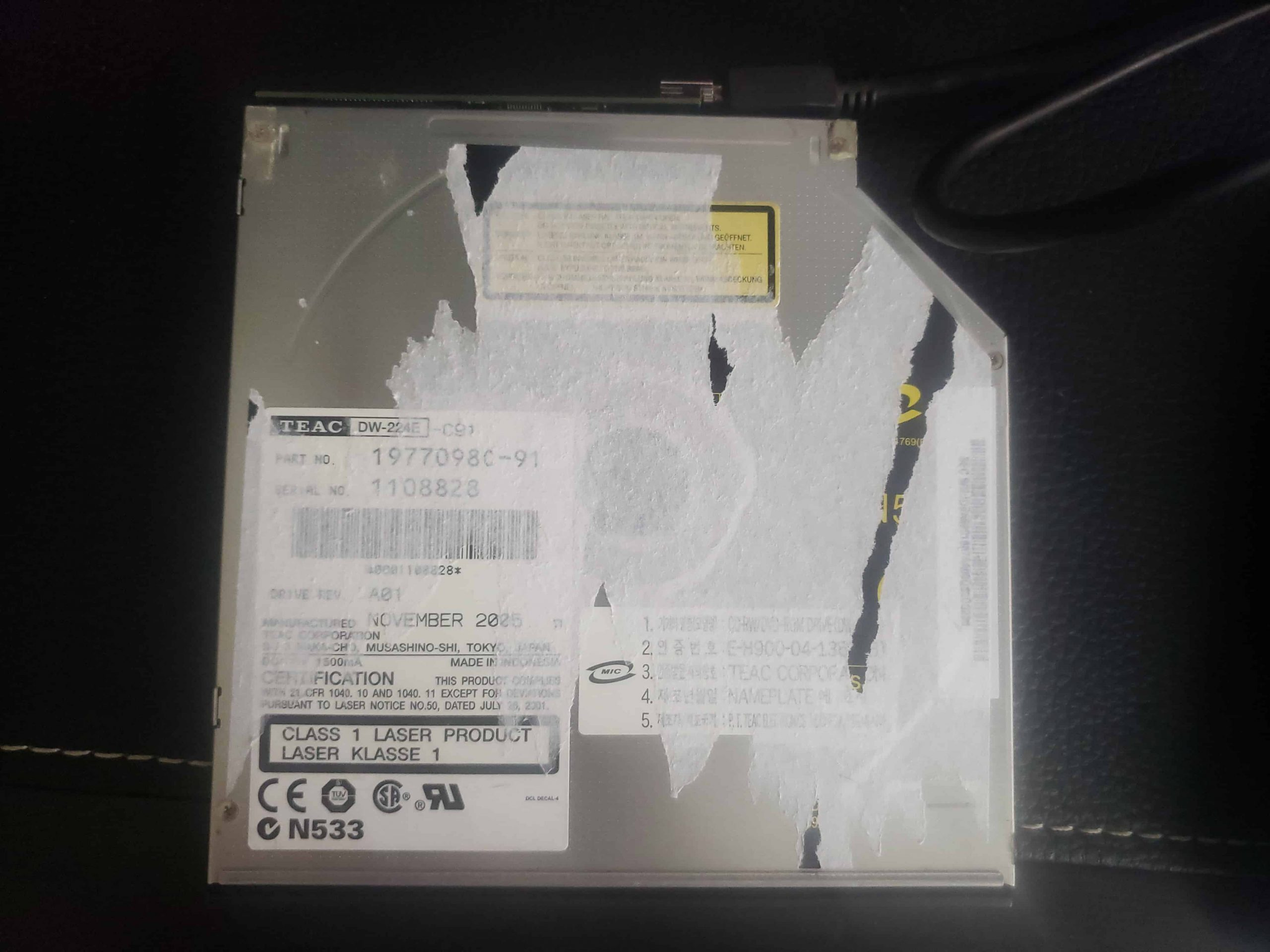 M Way External DVD Drive - Colorful Flame Pattern - Teardown - 9