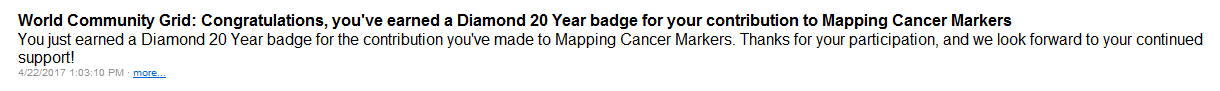 Mapping Cancer Markers 20 Years Diamond Badge Message in BOINC