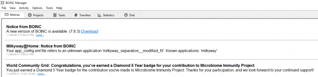 Microbiome Immunity Project - Diamond 5 Year Badge BOINC Message