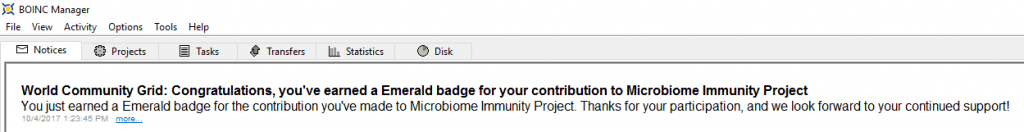 Microbiome Immunity Project - Emerald Badge BOINC Notice