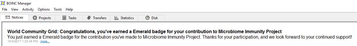 Microbiome Immunity Project - Emerald Badge BOINC Notice