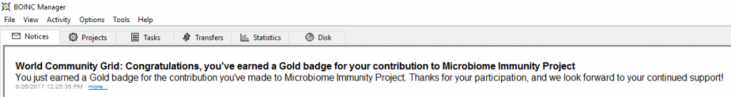 Microbiome Immunity Project - Gold Badge message in BOINC